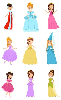 Cute little princess girls set, beautiful little girls in princess dresses illustrations on a white background