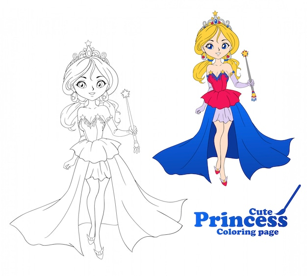 Милая маленькая принцесса, рисованной арт. красочное искусство для книжка-раскраска, раскраски иллюстрации.
