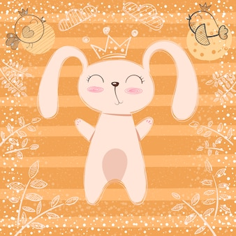 Cute little princess - rabbit cartoon