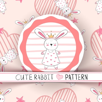 Cute little princess rabbit cartoon