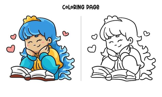 웃는 얼굴로 책을 읽고 귀여운 작은 공주. 인쇄 가능한 색칠 페이지 및 색칠하기 책