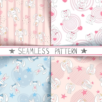 Cute little princess seamless pattern