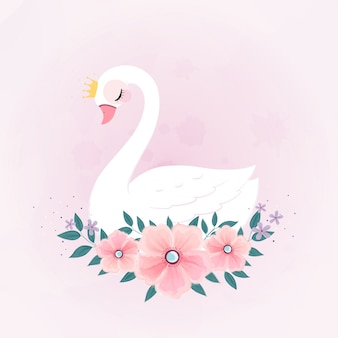 Cute little princess swan with flower bouquet.