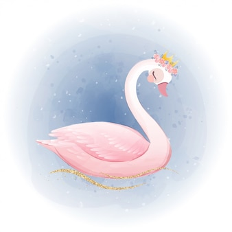 Cute little princess swan with gold glitter crown.