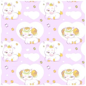 Cute little princess unicorns seamless pattern