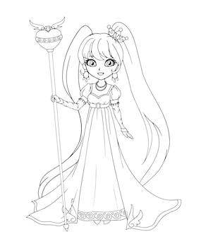 Cute little princess wearing ampir style dress, hand drawn art. contour art for coloring book, tattoo, fashion, games, cards. illustration.