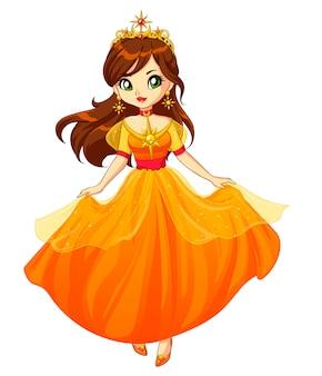 茶色の髪と黄色のドレスと金色のカラスを身に着けているかわいいプリンセス。手描きイラスト。