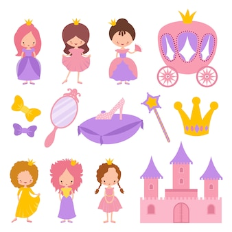 Cute little princess with crown and fairy tale  elements