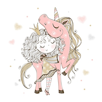 Cute little princess with a pink unicorn.
