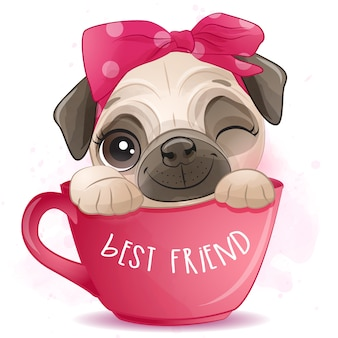 Cute little pug sitting inside the cup