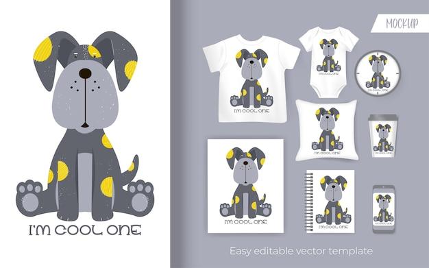 귀여운 작은 강아지 만화. 상품을위한 디자인