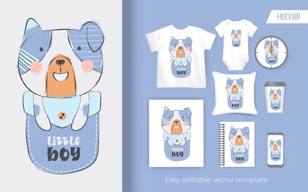 Cute little puppy on pocket cartoon. design for merchandise