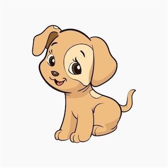 귀여운 작은 강아지 벡터 일러스트 만화