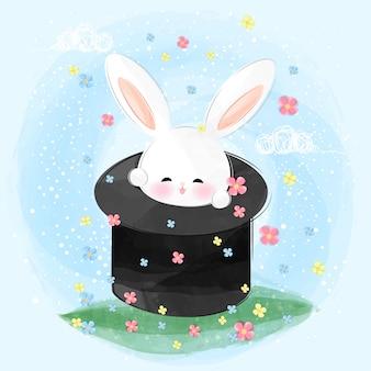 Cute little rabbit appear from magician hat