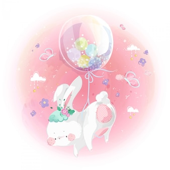 Cute little rabbit and balloon in the bright sky.