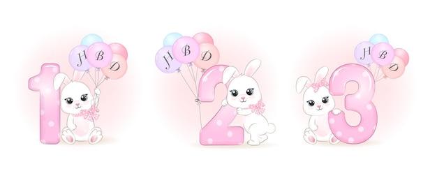 숫자 일러스트와 함께 귀여운 작은 토끼 생일 파티