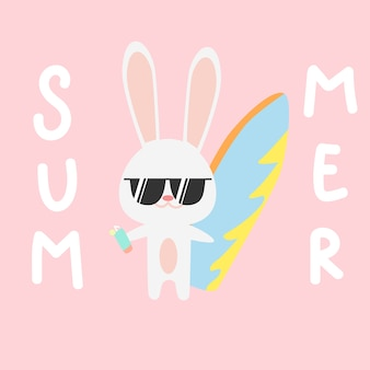 かわいい小さなウサギのバニーの夏の時間の漫画の落書き