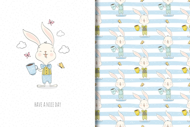Cute little rabbit cartoon character. surface design and funny illustration.