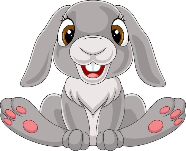 Милый маленький кролик мультфильм сидя