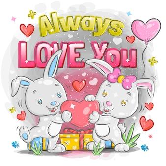 발렌타인 데이 일러스트에서 사랑에 귀여운 작은 토끼 커플 느낌