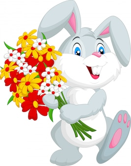 Cute little rabbit holding a bouquet