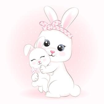 Cute little rabbit and mom drawn cartoon animal watercolor illustration