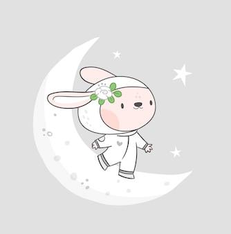 月にかわいいウサギ。コスモスの面白いウサギ