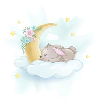 Cute little rabbit sleeping on a cloud