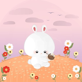 달팽이와 함께 귀여운 작은 토끼