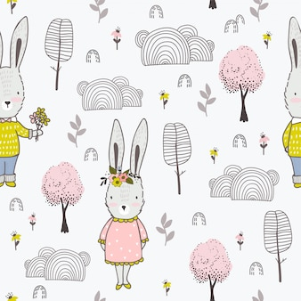 Cute little rabbits boy and girl hand drawn seamless pattern