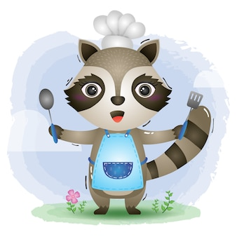 A cute little raccoon chef