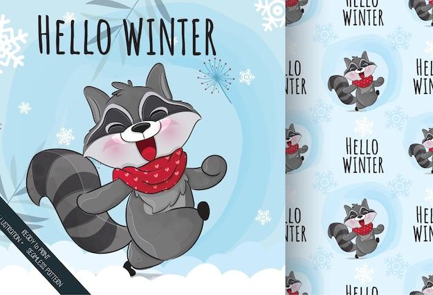 雪のイラストで幸せなかわいい小さなアライグマ背景のイラスト