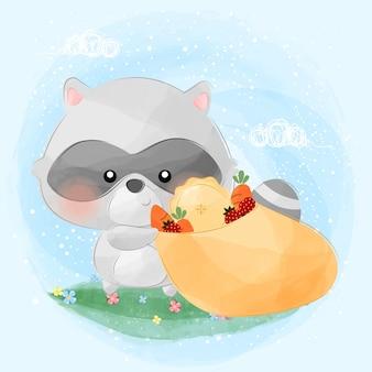 Cute little raccoon and his food bag