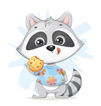Милый маленький енот держит вкусное печенье забавный мультяшный енот