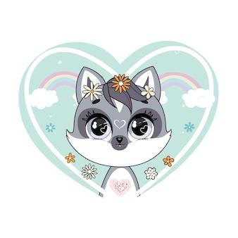 심장 모양의 무지개와 꽃 프레임에 귀여운 작은 너구리. 트렌디 한 스타일, 현대적인 파스텔 색상.
