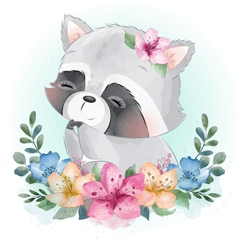 Cute little raccoon portrait