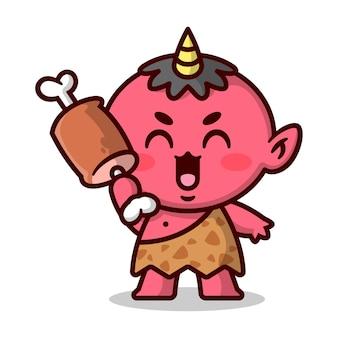 かわいい小さな赤い日本の悪魔の笑顔と肉の高品質の漫画のマスコットのデザインをもたらす