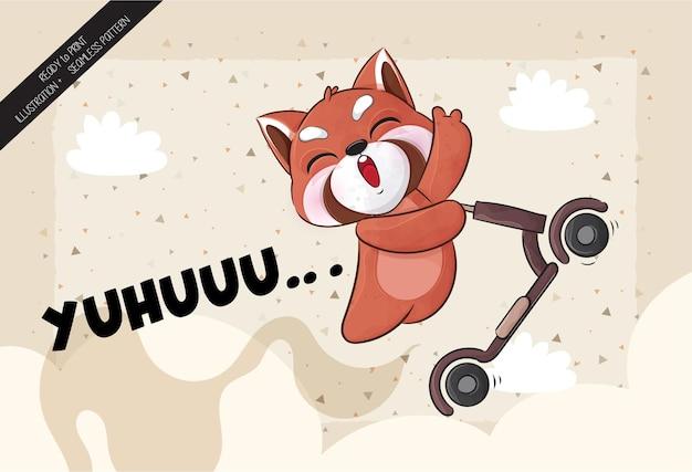 귀여운 작은 레드 팬더 행복 점프 스쿠터 일러스트 일러스트와 패턴 세트