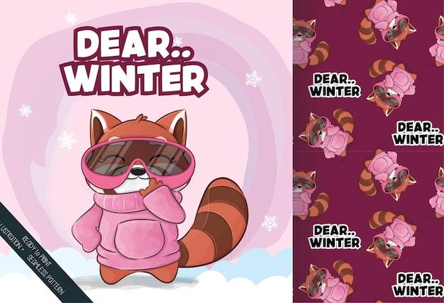 雪のイラストイラストとパターンセットで幸せなかわいいレッサーパンダ
