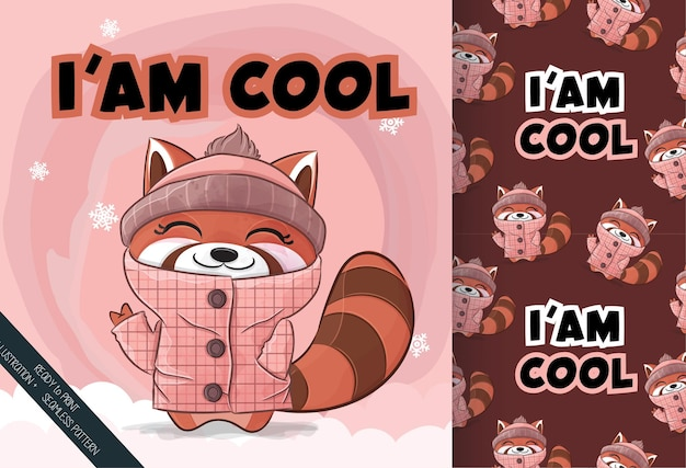 Cute little red panda happy on the snow illustration illustration and pattern set