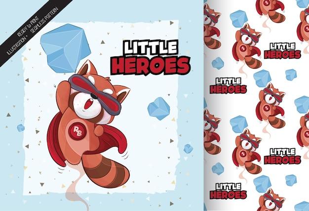 귀여운 작은 레드 팬더 행복 슈퍼 영웅 일러스트 일러스트와 패턴 세트