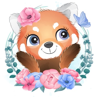 Cute little red panda portrait with floral