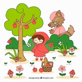 귀여운 작은 빨간 승마 후드와 늑대
