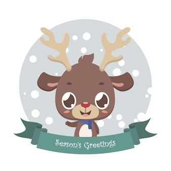 Cute little reindeer with banner