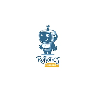 Cute little retro style robot for your robotic lessons and educational program vector logo template with lettering composition