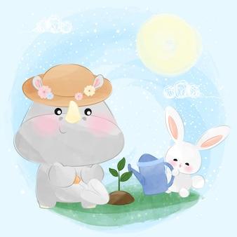 Cute little rhino and bunny gardening a plant