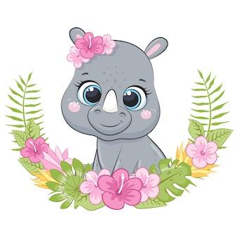 Милый маленький носорог с венком из цветов гавайи