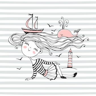 귀여운 작은 선원 소녀. 배와 고래가 헤엄치는 머리카락의 바다. 벡터.