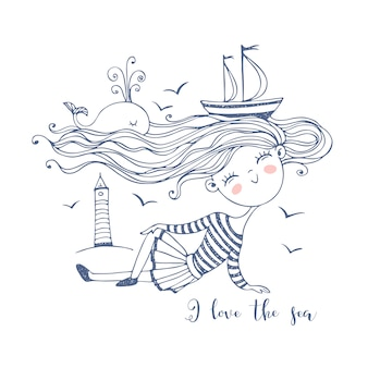 Cute little sailor girl. with an ocean of hair on which ships and a whale swim. doodle style.