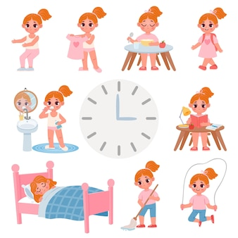 Cute little school girl day routine schedule. cartoon kid activity, exercise, dress, brush teeth and chores. vector daily graphic for child